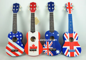 Cheap Price Beginner Colour Decal Skin Lindewood Body Hawaiian Ukulele pictures & photos