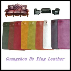 Eco-Friendly Fire Resistance Sofa PU Leather (HX-9812) pictures & photos