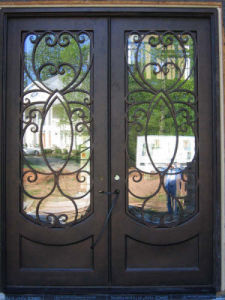 Flat Top Wrought Iron Entry Door with Kick-Plate pictures & photos