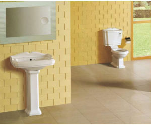 Color Ceramic Sanitary Wares with Fittings and Pedestal pictures & photos
