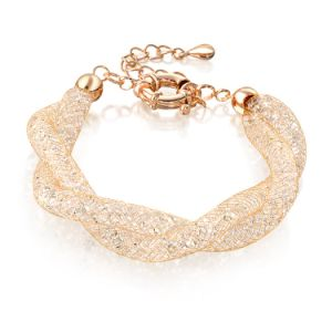Fashion Double Mesh Chains Gold Crysal Pearl Charm Bracelet pictures & photos