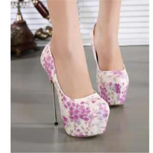 Flower Color PU Sexy High Heels pictures & photos