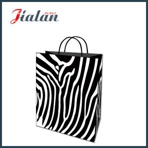 Black Kraft Paper Zebra Stripes Printed Shopping Gift Paper Bag pictures & photos