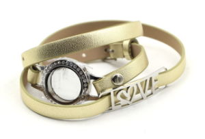 Locket Bracelet with Wrapped Leather Band for Gift Jewelry pictures & photos