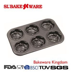 6 Cup Rose Cake Pan Carbon Steel Nonstick Bakeware (SL-Bakeware) pictures & photos
