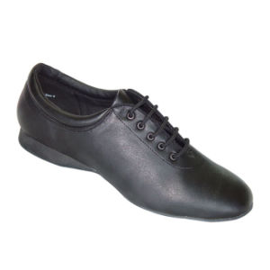Black Leather Women′s/Ladies Practice Shoes for Latin/Salsa/Cha-Cha/Tango Dance pictures & photos