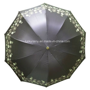 Three Folding Manual Open Paradise Umbrella with Color Coated Printing