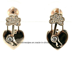 Fashion Jewelry Ear Stud 925 Sterling Silver Crystal Women Love Heart Earrings E6379 pictures & photos