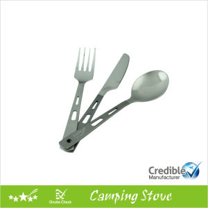 3PCS Titanium Cutlery Set: Spoon, Fork, Knife pictures & photos