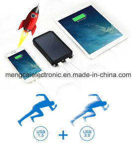 Dual USB Mobile Phone FCC Ce RoHS Certified Portable Solar and Li-Polymer Power Bank for iPhone and Samson pictures & photos