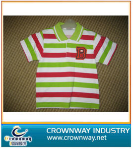Boy′s Color Stripes Polo Shirt with Embroidery Patch pictures & photos