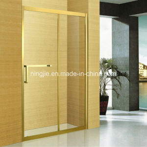 Luxury Golden Temper Glass Shower Screen (A-8942B) pictures & photos