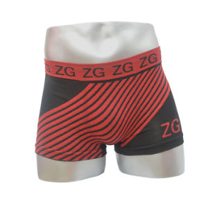 Fashion Design Red Color Strip Seamless Men Boxer Short