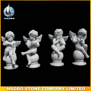 Stone Hand Crafted Cherub Carving Memorial Accessories pictures & photos