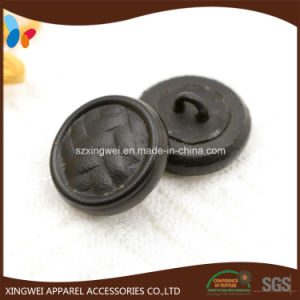 Custom Woven Effect Black Leather Button pictures & photos