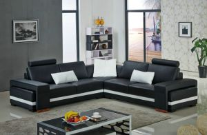 Germany Design Living Room Small Corner with Ottoman Geniune Leather Sofa pictures & photos