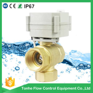 12V/24V 3 Way Type Brass Motorized Ball Valve Cr202 2 Wires pictures & photos