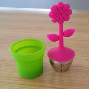 Food Grade Potted Plant Pattern Silicone Tea Leaves Infuser Strainer pictures & photos