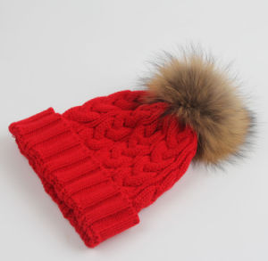 Lady Fashion Racoon Fur Acrylic Knitted Winter Warm Hat (YKY3122) pictures & photos