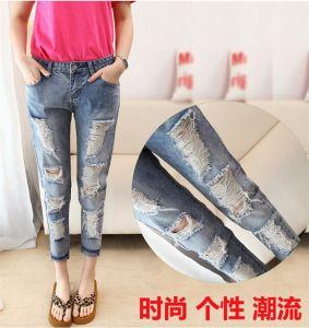P1311 2015 Fashion Ladiesboyfriend Jeans Ripped Women Washed Capris Jeans Loose Holes Denim Female Cowboy Trouser for Wholesale pictures & photos