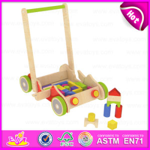 2015 New Style Kids Wooden Toy Pull Cart, Funny Child Wooden Toy Block Cart, Promotional Wooden Hand Cart with Four Wheels W13c020 pictures & photos