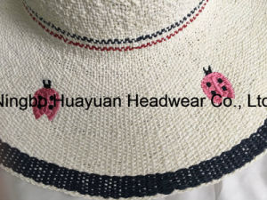 100% Paper Hand Made Beach Style Floppy Style Embroidery Emb Straw Hat pictures & photos