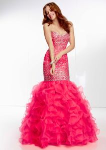 Beaded Beautiful Ruffle Strapless Prom Evening Dresses (PD3024) pictures & photos