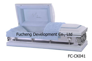 Best Selling MID-Night Blue Finish & Blue Crepe Interiors Casket & Coffin for Ameriacn Style (FC-CK033) pictures & photos