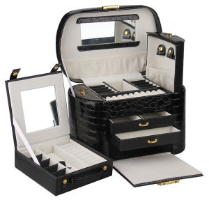 Black Leather Jewelry Case (HX-A0739-1) pictures & photos