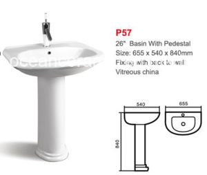 Ceramic Lavatory Basin with Pedestal (No. P57) Sanitaryware pictures & photos