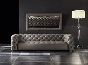 American Style Genuine Leather Tufted Sofa Set for Home (GLS-011)