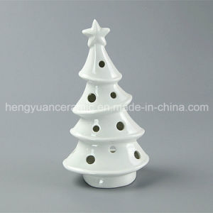 Spot Goods! White Porcelain Tree Shaped Ceramic Christmas Candle Holders pictures & photos