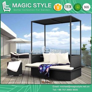 Wicker Daybed Double Sofa Rattan Daybed Garden Sofa Balcony Daybed Sunbed  Bench Sunbed Outdoor Daybed Patio Daybed 2 Seater Sofa (Magic Style)