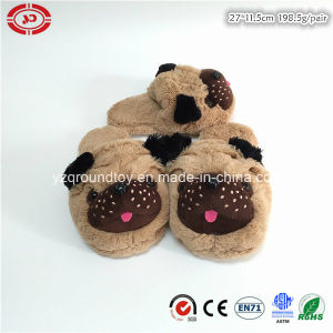 Family Indoor Dog Head Brown Plush Fluffy Soft Hotel Slipper pictures & photos