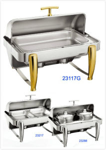Full Size Hydraulic Roll-Top Chafing Dish Set with Silver/Golden Legs (23117) pictures & photos