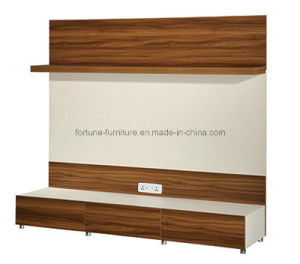 Modern Wooden Walnut & White TV Stand with Hanging Shelf (B201-1.8) pictures & photos