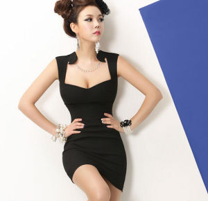 2015 Deep V-Neck Slim Black Sexy Bodycon Evening Club Dress pictures & photos