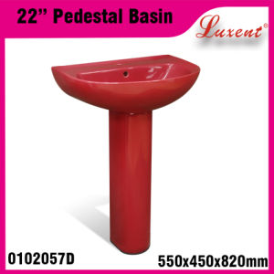 Porcelain Vireous Colourfull Two Piece Hand Wash Pedestal Basin pictures & photos