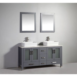 China legion furniture 59 inch dark grey solid wood double sink vanity set with faucet and for Solid wood double sink bathroom vanity
