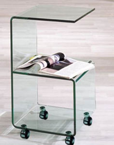 G Shape Glass End Table with Wheels pictures & photos