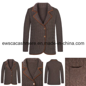 Lady Cable Long Sleeve Pure Cashmere Knitwear with Suit Collar