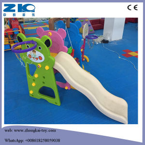Indoor Plastic Kids Slides with Swing and Basketball pictures & photos