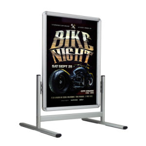 Sidewalk Sign for Posters, Snap Open, Wheels, Silver pictures & photos