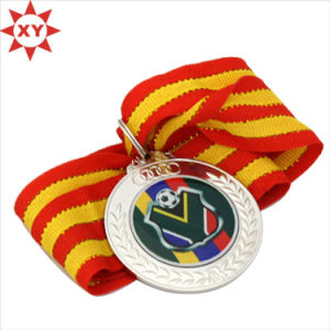 Wholesale Cheap Mirrored Silver Football Sport Metal Medal with Ribbon pictures & photos