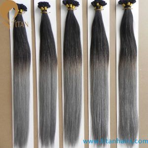 1b/Grey Ombre Color Keratin Human Hair Extension pictures & photos