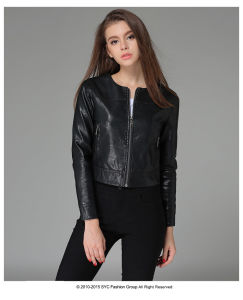 OEM Europe Style Black Leather Motorcycle Jacket for Women pictures & photos