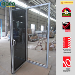 PVC Frame Front Door Designs with Double Glass and Handle pictures & photos