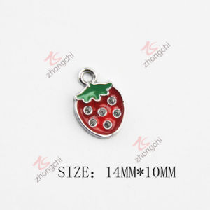 Red Strawberry Enamel Metal Charm (SPE)