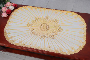 Popular PVC Placemat with Lace Gold Factory pictures & photos