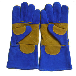 Safety Welder′s Gloves, Cow Split Leather Welding Glove pictures & photos